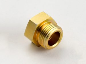 Machined part threaded plug hex yellow zinc plating